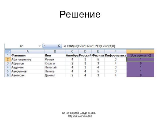 Решение Юнов Сергей Владленович http://vk.com/rim360
