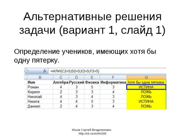 Альтернативные решения задачи (вариант 1, слайд 1) Определение учеников, имеющих хотя бы одну пятерку. Юнов Сергей Владленович http://vk.com/rim360