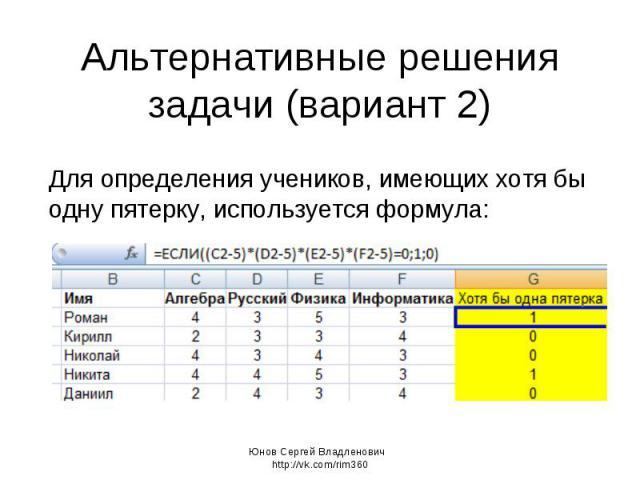 Альтернативные решения задачи (вариант 2) Для определения учеников, имеющих хотя бы одну пятерку, используется формула: Юнов Сергей Владленович http://vk.com/rim360