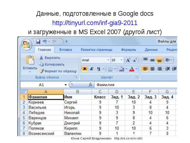 Данные, подготовленные в Google docs http://tinyurl.com/inf-gia9-2011 и загруженные в MS Excel 2007 (другой лист) Юнов Сергей Владленович http://vk.com/rim360