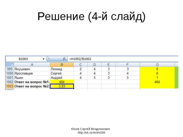 Решение (4-й слайд) Юнов Сергей Владленович http://vk.com/rim360