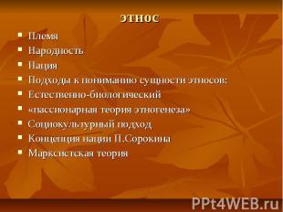этнос Племя Народность Нация Подходы к пониманию сущности этносов: Естественно-б