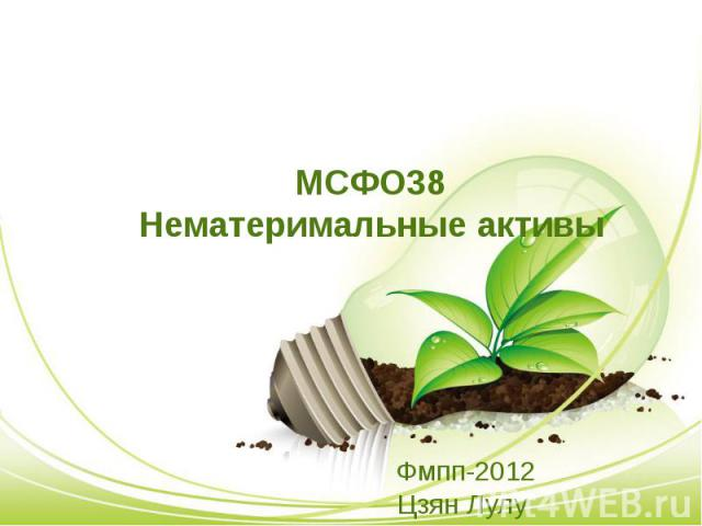 МСФО38 Нематеримальные активы Фмпп-2012 Цзян Лулу