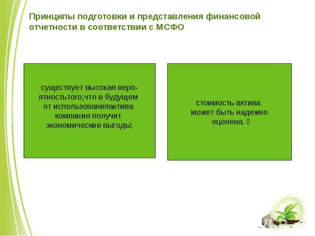 существует высокая веро- ятностьтого,что в будущем от использованияактива компания получит экономические выгоды; стоимость актива может быть надежно оценена.  Принципы подготовки и представления финансовой отчетности в соответствии с МСФО