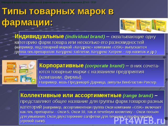 Типы товарных марок в фармации: Кафедра фармакологии, клинической фармакологии и фармакоэкономики ДГМА - 2010 Индивидуальные (individual brand) – охватывающие одну категорию фарм.товара или несколько его разновидностей (например, под товарной маркой…
