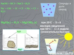 NaOH + HCl = NaCl + H2O Na+ + OH ─ + H+ + Cl─ = Na+ + Cl─ + H2O Секунды и доли с