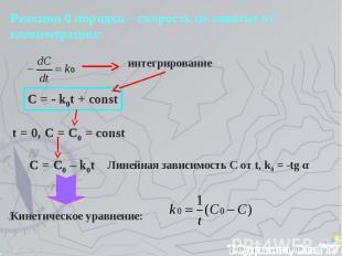 Реакции 0 порядка – скорость не зависит от концентрации: интегрирование C = - k0