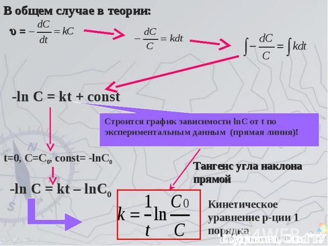 В общем случае в теории: = -ln C = kt + const t=0, C=C0, const= -lnC0 -ln C = kt – lnC0 Строится график зависимости lnC от t по экспериментальным данным (прямая линия)! Тангенс угла наклона прямой Кинетическое уравнение р-ции 1 порядка