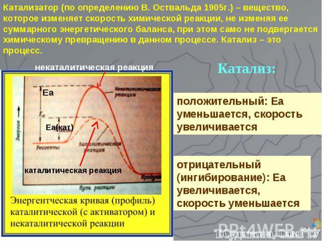 Катализатор (по определению В. Оствальда 1905г.) – вещество, которое изменяет скорость химической реакции, не изменяя ее суммарного энергетического баланса, при этом само не подвергается химическому превращению в данном процессе. Катализ – это проце…