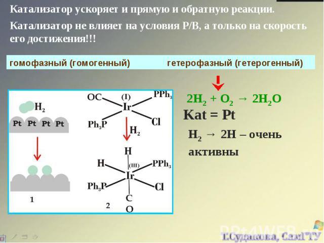 Катализатор ускоряет и прямую и обратную реакции. Катализатор не влияет на условия Р/В, а только на скорость его достижения!!! гомофазный (гомогенный) гетерофазный (гетерогенный) 2Н2 + О2 → 2Н2О Kat = Pt H2 → 2H – очень активны