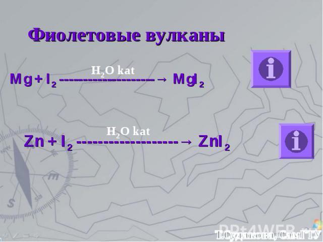 Фиолетовые вулканы Mg + I2 --------------------→ MgI2 Zn + I2 -------------------→ ZnI2 H2O kat H2O kat