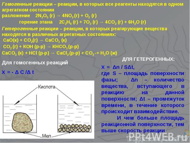 Гомогенные реакции – реакции, в которых все реагенты находятся в одном агрегатном состоянии разложение 2N2O5 (г) → 4NO2 (г) + O2 (г) горение этана 2C2H6 (г) + 7O2 (г) → 4CO2 (г) + 6H2O (г) Гетерогенные реакции – реакции, в которых реагирующие вещест…