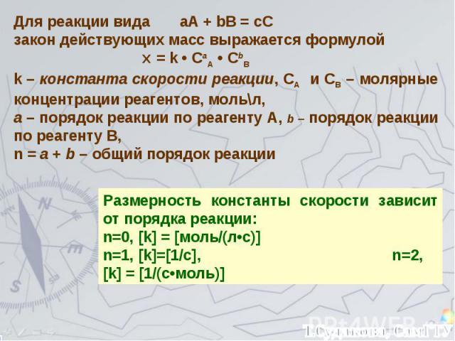 Для реакции вида аА + bB = cC закон действующих масс выражается формулой Ʋ = k • СaA • СbB k – константа скорости реакции, СA и СB – молярные концентрации реагентов, моль\\л, а – порядок реакции по реагенту А, b – порядок реакции по реагенту В, n = …