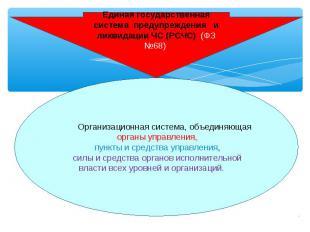 Единая государственная система предупреждения и ликвидации ЧС (РСЧС) (ФЗ №68) Ор
