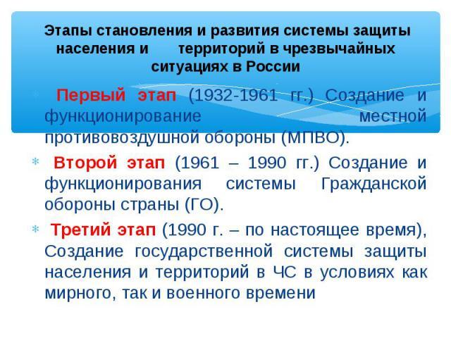 Первый этап (1932-1961 гг.) Создание и функционирование местной противовоздушной обороны (МПВО). Второй этап (1961 – 1990 гг.) Создание и функционирования системы Гражданской обороны страны (ГО). Третий этап (1990 г. – по настоящее время), Создание …