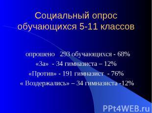 Социальный опрос обучающихся 5-11 классов опрошено 293 обучающихся - 68% «За» -