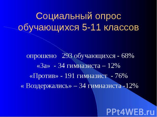 Социальный опрос обучающихся 5-11 классов опрошено 293 обучающихся - 68% «За» - 34 гимназиста – 12% «Против» - 191 гимназист - 76% « Воздержались» – 34 гимназиста -12%