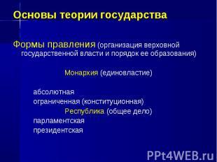 Основы теории государства Формы правления (организация верховной государственной