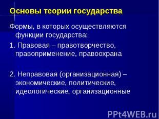 Основы теории государства Формы, в которых осуществляются функции государства: 1