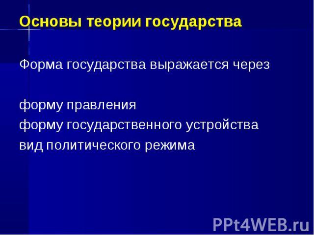 Основы теории государства Форма государства выражается через форму правления форму государственного устройства вид политического режима