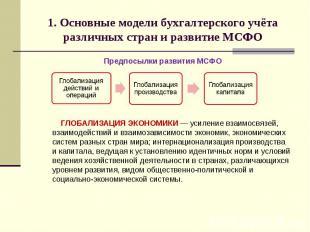 1. Основные модели бухгалтерского учёта различных стран и развитие МСФО Предпосы