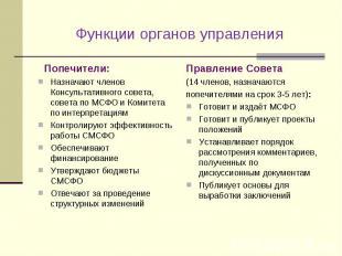 Функции органов управления Попечители: Назначают членов Консультативного совета,