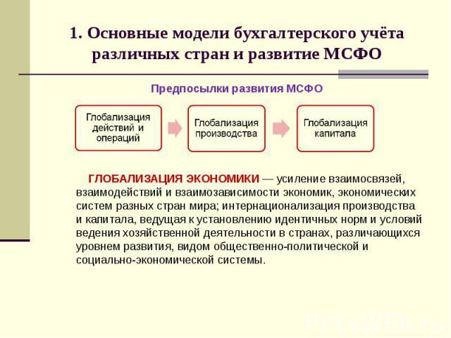 1. Основные модели бухгалтерского учёта различных стран и развитие МСФО Предпосылки развития МСФО ГЛОБАЛИЗАЦИЯ ЭКОНОМИКИ — усиление взаимосвязей, взаимодействий и взаимозависимости экономик, экономических систем разных стран мира; интернационализаци…