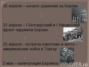 16 апреля – начало сражения за Берлин 22 апреля – I Белорусский и I Украинский ф