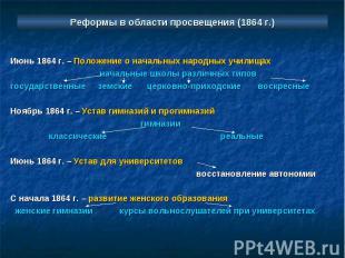 Реформы в области просвещения (1864 г.) Июнь 1864 г. – Положение о начальных нар
