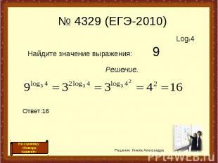 Log34 Найдите значение выражения: 9 Решение. Ответ:16 Решение Кнюка Александра №
