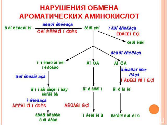 НАРУШЕНИЯ ОБМЕНА АРОМАТИЧЕСКИХ АМИНОКИСЛОТ
