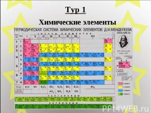 Тур 1 Химические элементы
