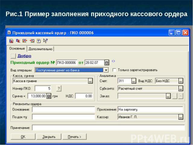 Рис.1 Пример заполнения приходного кассового ордера