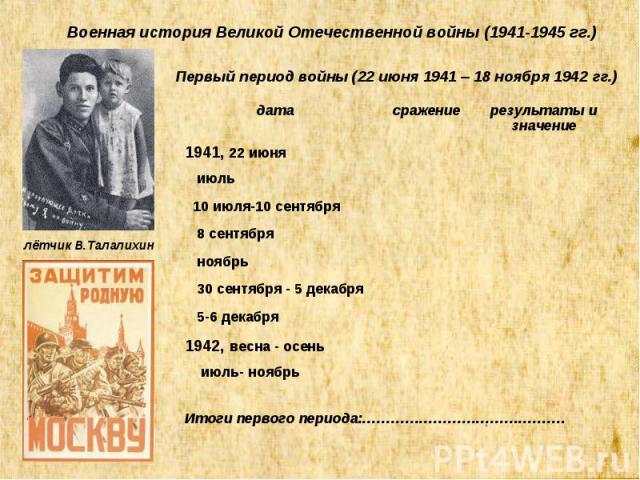 Военная история Великой Отечественной войны (1941-1945 гг.) Первый период войны (22 июня 1941 – 18 ноября 1942 гг.) дата сражение результаты и значение 1941, 22 июня июль 10 июля-10 сентября 8 сентября ноябрь 30 сентября - 5 декабря 5-6 декабря 1942…