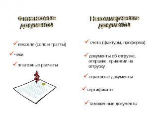 векселя (соло и тратты) чеки платежные расчеты счета (фактуры, проформа) докумен