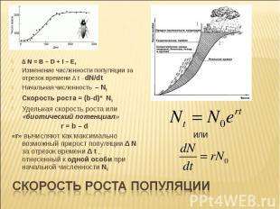 ∆ N = B – D + I – E, Изменение численности популяции за отрезок времени ∆ t - dN