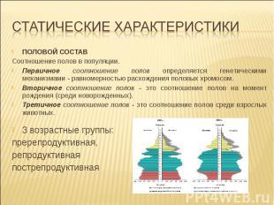 ПОЛОВОЙ СОСТАВ Соотношение полов в популяции. Первичное соотношение полов опреде