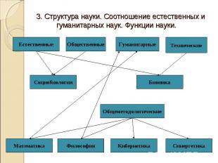 3. Структура науки. Соотношение естественных и гуманитарных наук. Функции науки.