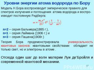 * Модель Н.Бора воспроизводит эмпирическое правило для спектров излучения и погл