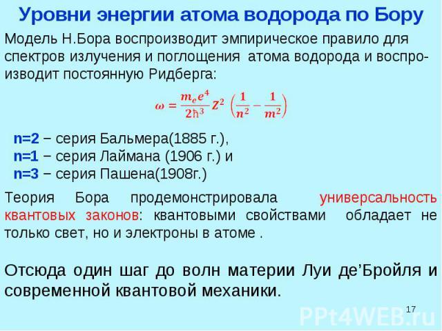 * Модель Н.Бора воспроизводит эмпирическое правило для спектров излучения и поглощения атома водорода и воспро-изводит постоянную Ридберга: n=2 − серия Бальмера(1885 г.), n=1 − серия Лаймана (1906 г.) и n=3 − серия Пашена(1908г.) Теория Бора продемо…