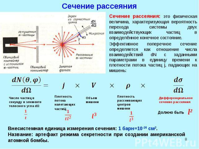 * Сечение рассеяния Сечение рассеяния: это физическая величина, характеризующая вероятность перехода системы двух взаимодействующих частиц в определённое конечное состояние. Эффективное поперечное сечение определяется как отношение числа взаимодейст…