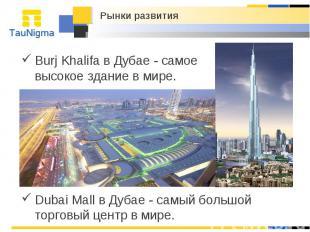 Burj Khalifa в Дубае - cамое высокое здание в мире. Рынки развития Dubai Mall в
