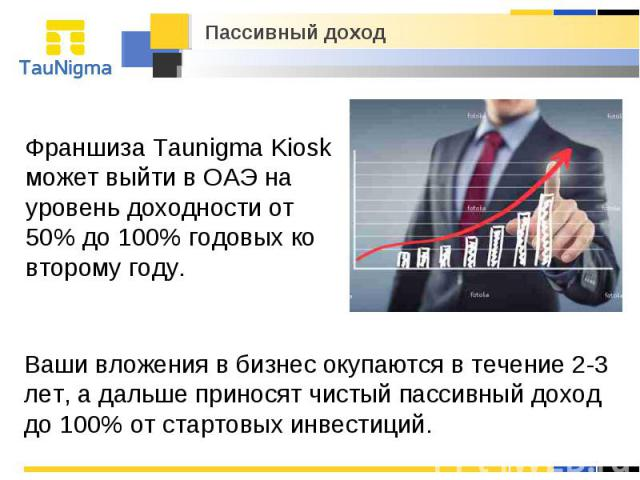 Пассивный доход Франшиза Taunigma Kiosk может выйти в ОАЭ на уровень доходности от 50% до 100% годовых ко второму году. Ваши вложения в бизнес окупаются в течение 2-3 лет, а дальше приносят чистый пассивный доход до 100% от стартовых инвестиций.