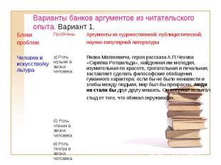 Варианты банков аргументов из читательского опыта. Вариант 1. в) Роль театра в ж