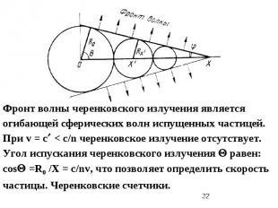 Фронт волны черенковского излучения является огибающей сферических волн испущенн