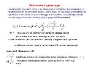 Капельная модель ядра Короткодействующие силы и их насыщение указывает на адеква