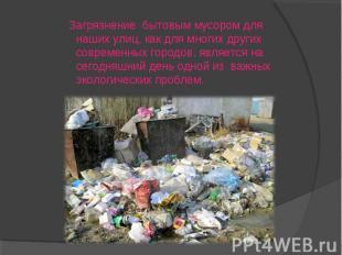 Загрязнение бытовым мусором для наших улиц, как для многих других современных го