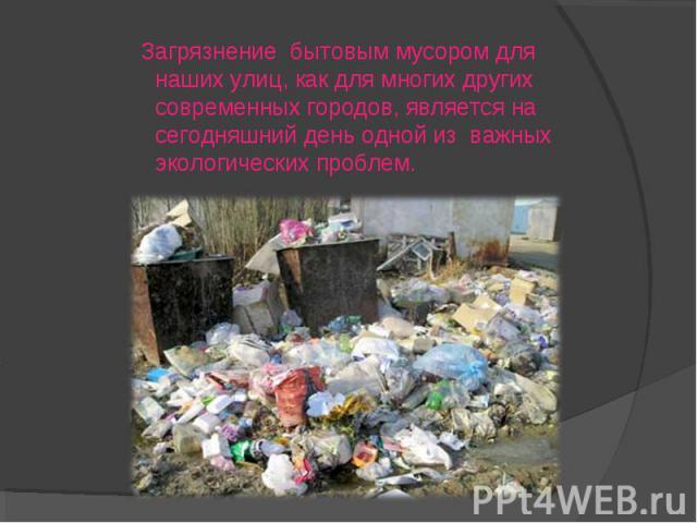 Загрязнение бытовым мусором для наших улиц, как для многих других современных городов, является на сегодняшний день одной из важных экологических проблем.