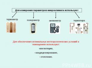 Для измерения параметров микроклимата используют термопара психрометр анемометр