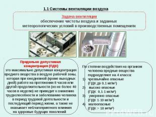 1.1 Системы вентиляции воздуха Задача вентиляции обеспечение чистоты воздуха и з